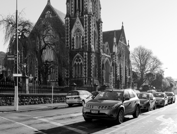 Knox Church and cars
