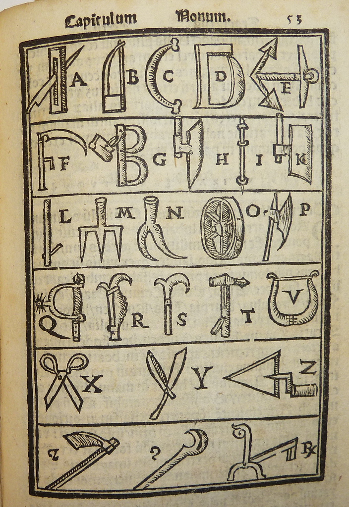 Woodcut diagram of a visual alphabet