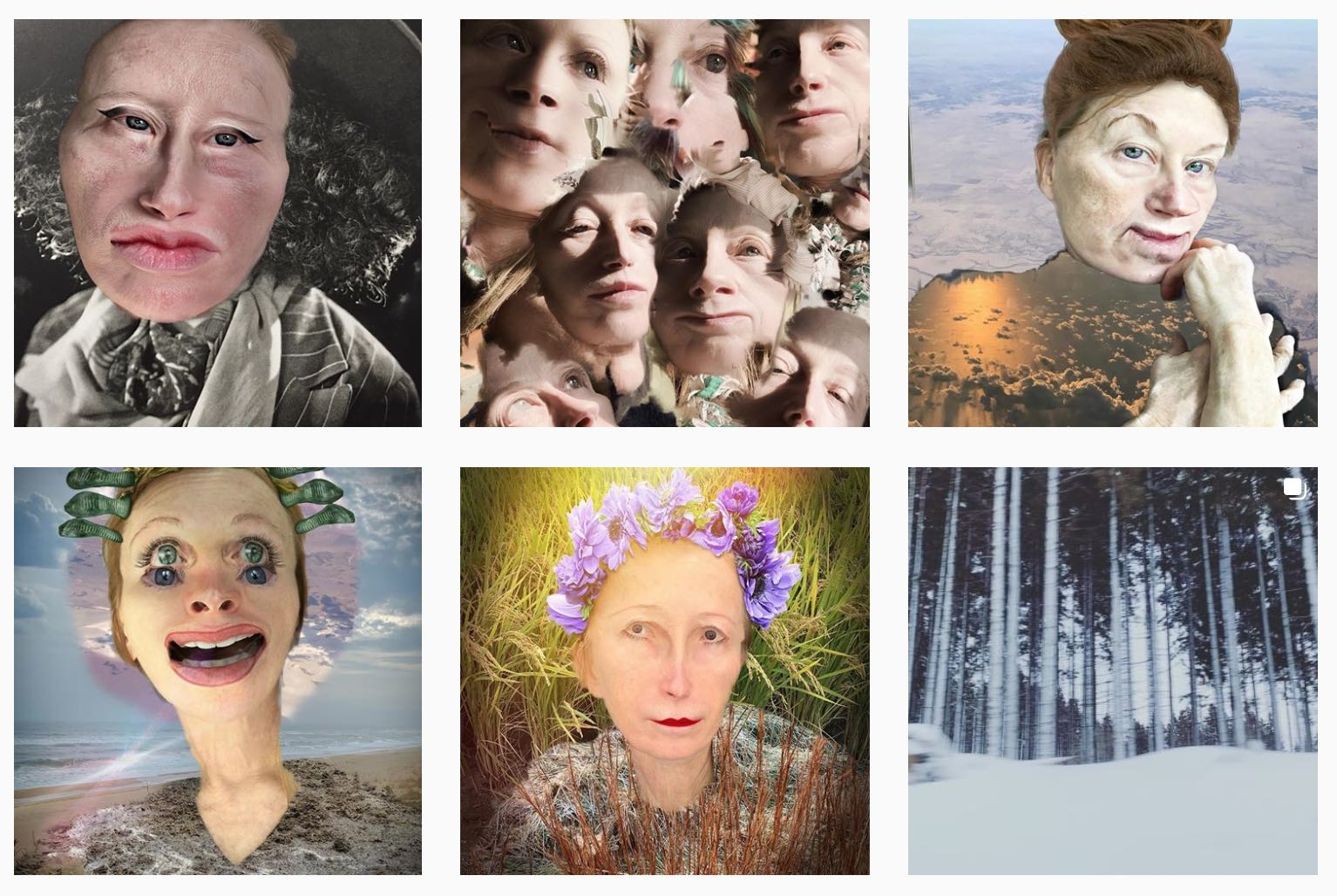Cindy Sherman on Instagram 4 panels
